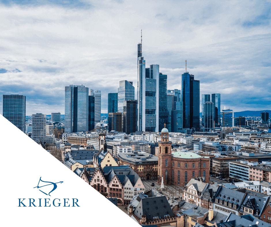 Frankfurter Skyline mit KRIEGER Logo.